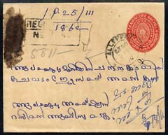 Indian States - Travancore 3/4ch red p/stat env reg used with additional 1ch & 2ch on reverse, cancelled Alleppey