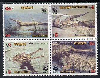 Bangladesh 1990 WWF Endangered Wildlife (Gharial) se-tenant block of 4 unmounted mint, SG 340a