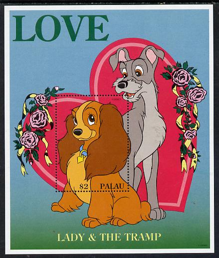 Palau 1996 Disney Sweethearts $2 m/sheet (Lady & The Tramp) unmounted mint