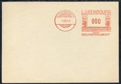 Luxembourg 1946 proof of meter franking on large piece valued 000