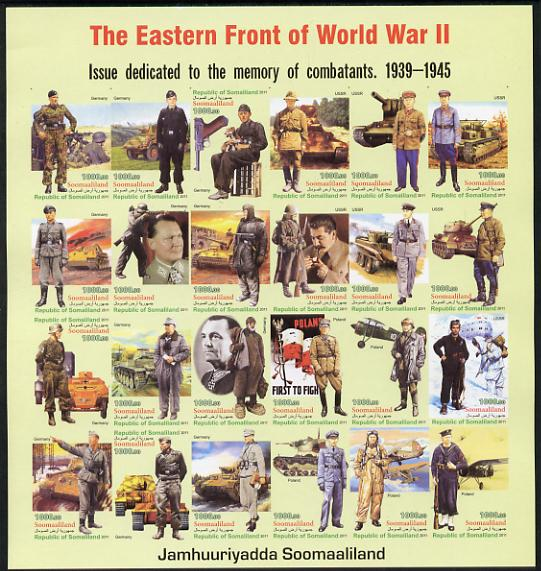 Somaliland 2011 The Eastern Front of WW2 #1 imperf sheetlet containing 24 values unmounted mint