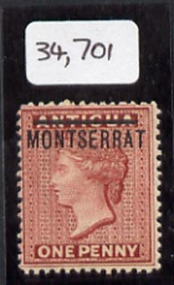Montserrat 1884 opt on QV 1d of Antigua, mounted mint example from position 20 showing