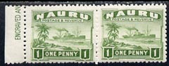 Nauru 1924-48 Century (Freighter) 1d green unmounted mint horiz pair, one stamp with vert guide line through l/hand value tablet, SG 27Avar, stamps on