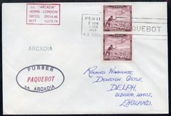 Nauru used in Perth (Western Australia) 1968 Paquebot cover to England carried on SS Arcadia with various paquebot and ships cachets