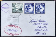 Nauru used in Sydney (New South Wales) 1968 Paquebot cover to England carried on SS Arcadia with various paquebot and ships cachets