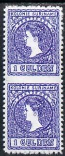 Surinam 1907 Queen Wilhelmina 1g vert pair imperf between being a