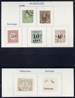 Netherlands - Surinam 7 forgery items on pieces from Fournier album (5 stamps, surcharge & cancellation)