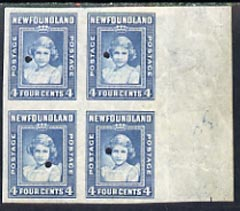 Newfoundland 1941-44 KG6 Princess Elizabeth 4c blue imperf marginal PROOF block of 4 each stamp with Waterlow security punch hole, some wrinkles but a scarce KG6 item (as SG 279)