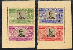 Nicaragua 1938 75th Anniversary of Postal Administration set of 4 each imperf on 2 sides, SG99e-h
