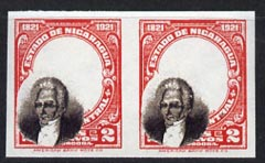 Nicaragua 1921 Centenary 2c with superb misplaced portrait, imperf pair being a