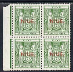 Niue 1941 KG6 Postal Fiscal Arms 5s unmounted mint block of 4 (v light gum discolouration) SG 84