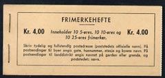 Booklet - Norway 1962 4kr booklet (Olav & Posthorn) complete and very fine, SG SB33