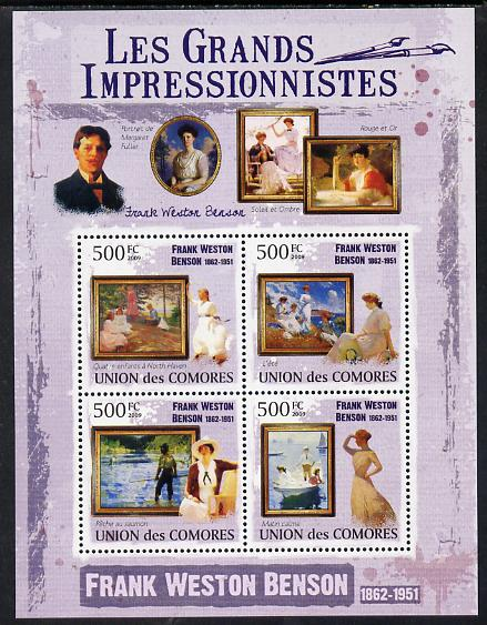 Comoro Islands 2009 The Impressionists - Frank Weston Benson perf sheetlet containing 4 values unmounted mint