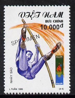 Vietnam 1995 Pole Vault 10,000d value from Olympic Games set of 4, overprinted SPECIMEN (only 200 produced) unmounted mint
