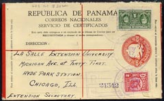 Panama 1941 10c formula reg env used to Chicago additionally franked 1c & 2c, very clean