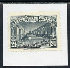 Panama 1926 colour trial proof of 24c Bolivar Congress (SG218) in grey affixed to small piece overprinted