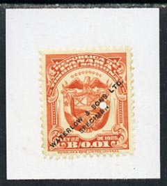 Panama 1925 colour trial proof of 1c Timbre National (Arms) in orange affixed to small piece overprinted