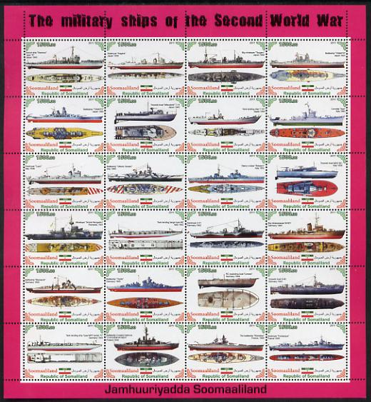 Somaliland 2011 Military Ships of WW2 #1 perf sheetlet containing 24 values unmounted mint