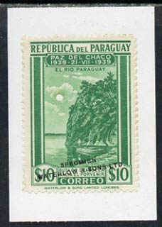 Paraguay 1940 colour trial proof of 10p Fishing (SG 540) in green affixed to small piece overprinted