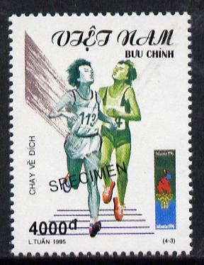 Vietnam 1995 Running 4,000d value from Olympic Games set of 4, overprinted SPECIMEN (only 200 produced) unmounted mint