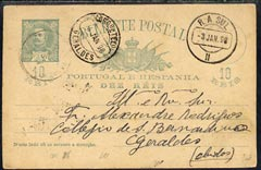 Portugal 1918 10r Green p/stat card 'Bilhete Postal' to Geraldes, various cancels