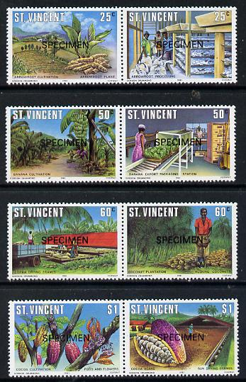 St Vincent 1981 Agriculture set of 8 (4 se-tenant pairs) opt'd Specimen unmounted mint, as SG 660-67