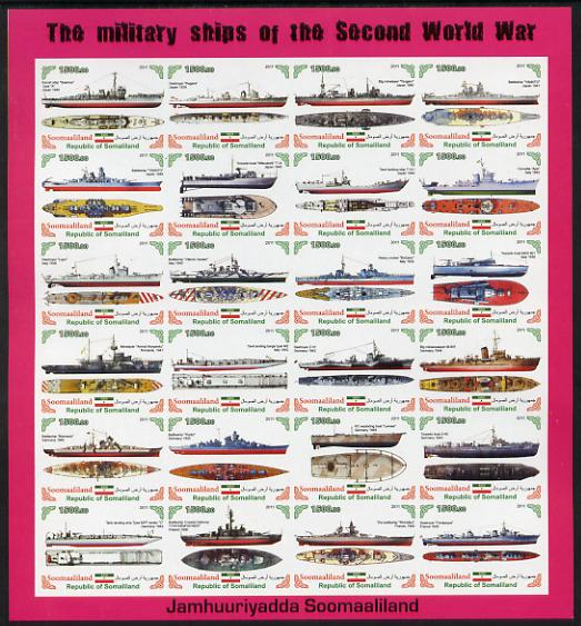 Somaliland 2011 Military Ships of WW2 #1 imperf sheetlet containing 24 values unmounted mint