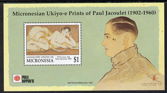 Micronesia 1991 'Phila Nippon 91' Stamp Exhibition m/sheet (Paintings by Paul Jacoulet) unmounted mint SG MS 231