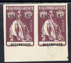 Mozambique 1914 Ceres imperf colour trial horiz proof pair in issued colours on ungummed paper, one stamp with large flaw in r/hand value tablet, most unusual