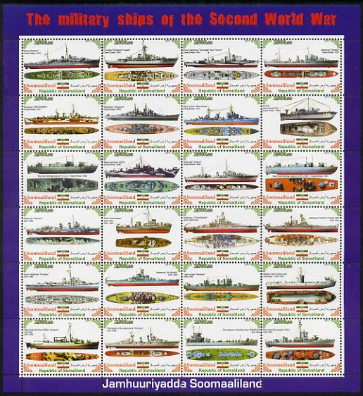 Somaliland 2011 Military Ships of WW2 #2 perf sheetlet containing 24 values unmounted mint
