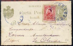 Rumania 1910 (circa) 15b green p/stat card to Amsterdam bearing additional 10b red tied