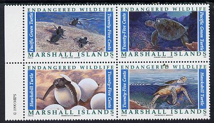 Marshall Islands 1990 Turtles set of 4 in unmounted mint se-tenant block SG 345a