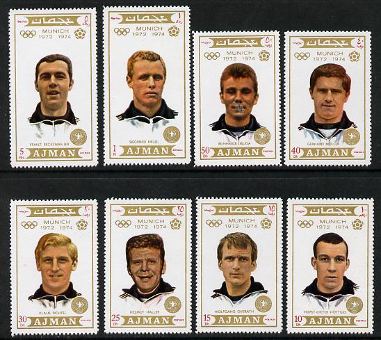 Ajman 1971 Olympic Footballers set of 8 unmounted mint (Mi 1237-44)