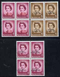 St Lucia 1967 unissued 1c & 6c with Statehood overprint in black & 1c with opt in red, each in unmounted mint blocks of 4