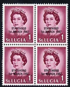 St Lucia 1967 unissued 1c with Statehood overprint in black, unmounted mint block of 4 with superb set-off on reverse