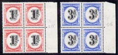South West Africa 1960 Postage Due set of 2 in unmounted mint blocks of 4, SG D55-56