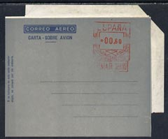 Aerogramme - Spain Scarce 60p air letter form with narrow angle overlay