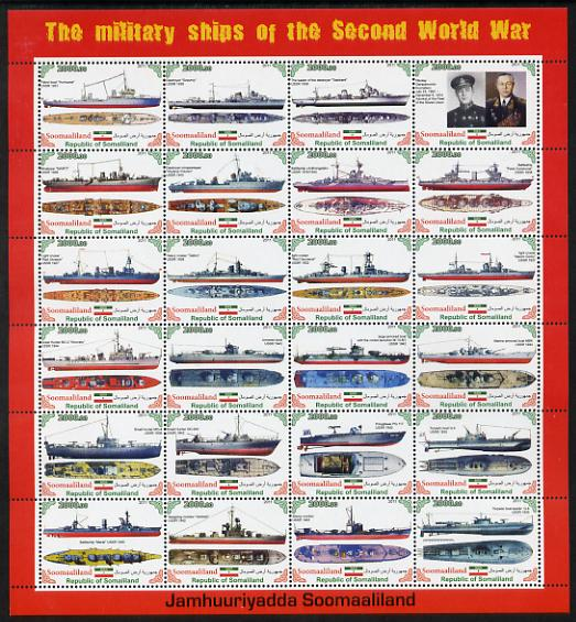 Somaliland 2011 Military Ships of WW2 #3 perf sheetlet containing 24 values unmounted mint
