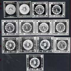 Uruguay 1856-59 photographic prints, twice stamp size, from Sperati