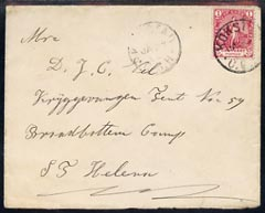 St Helena 1902 incoming cover from Cape of Good Hope addressed to Broadbottom Camp, no St H markings