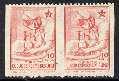 Turkey 1943-44 Obligatory Tax 10c (Nurse Bathing Baby) unmounted mint horiz pair with vertical perfs omitted, SG T1342var
