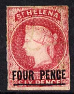 St Helena 1863 QV Crown CC imperf 4d carmine, 3 margins with possibly pen cancel SG 5 cat \A3250