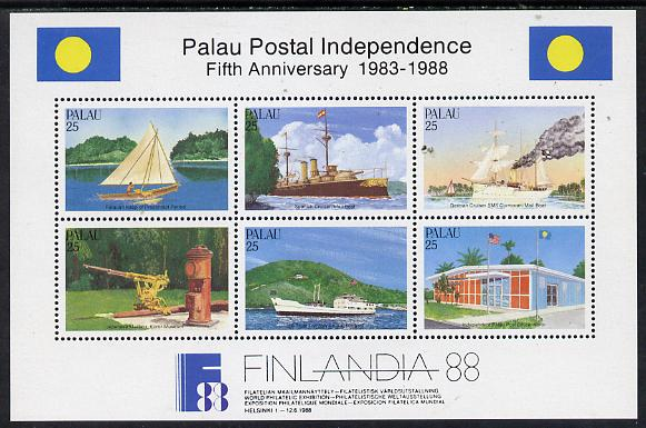 Palau 1988 'Filandia 88' Stamp Exhibition (Postal Independence - Ships) m/sheet unmounted mint, SG MS 236