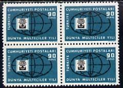 Turkey 1960 Refugee Year 90k unmounted mint block of 4 with superb 100% set-off on gummed side