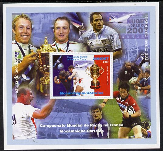 Mozambique 2007 Rugby World Cup #1 imperf souvenir sheet unmounted mint. Note this item is privately produced and is offered purely on its thematic appeal
