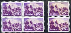 Turkey 1959 Tourist Publicity fine mounted mint block of 4 with fine dry print of orange, plus pair as normal
