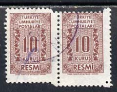 Turkey 1962 Official 10k red-brown used pair with perf jump