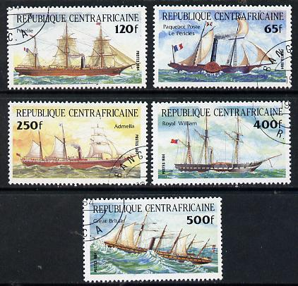 Central African Republic 1984 Transport (Ships) set of 5 cto used, SG 1012-13