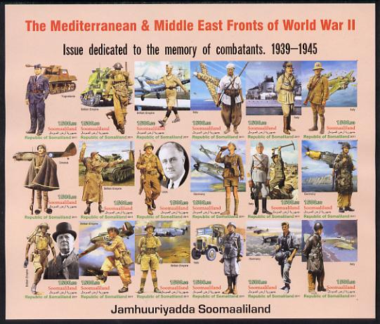 Somaliland 2011 The Mediterranean & Middle East Fronts of World War II #2 imperf sheetlet containing 18 values unmounted mint