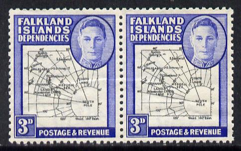 Falkland Islands Dependencies 1946-49 KG6 Thick Maps 3d horiz pair, one stamp with 'Broken Arc' variety unmounted mint